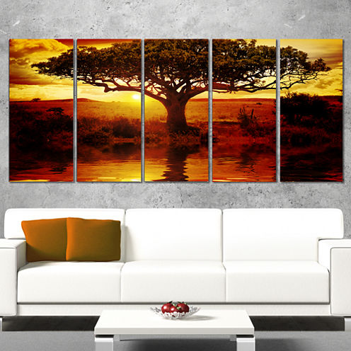 Designart Lonely Tree In African Sunset African Landscape Canvas Art - 5 Panels