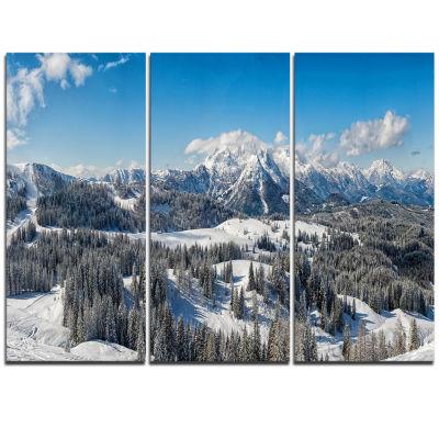 Designart Austrian Alps Winter Panorama LandscapeCanvas Art Print - 3 Panels