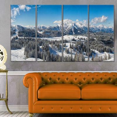 Designart Austrian Alps Winter Panorama LandscapeCanvas Art Print - 4 Panels