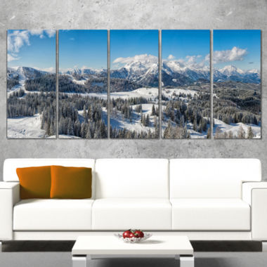 Designart Austrian Alps Winter Panorama LandscapeCanvas Art Print - 5 Panels