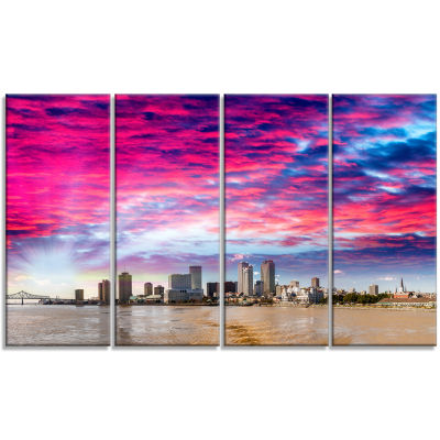 Designart New Orleans Building And Skyscrapers Modern Cityscape Canvas Wall Art - 4 Panels