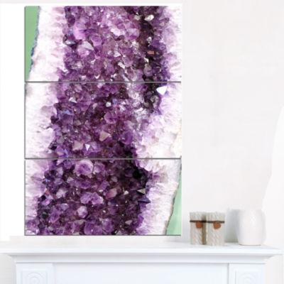 Designart Purple Precious Stones Abstract Canvas Art Print - 3 Panels