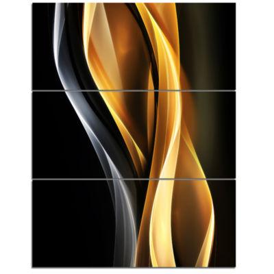 Designart Brown White Light Art Abstract Canvas Art Print - 3 Panels
