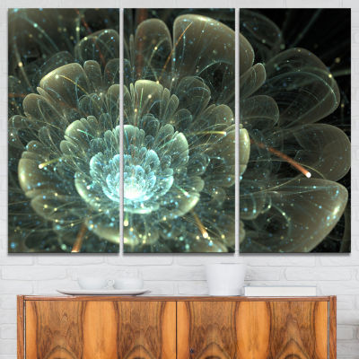 Designart Fractal Flower Blue And Gray Canvas ArtPrint - 3 Panels