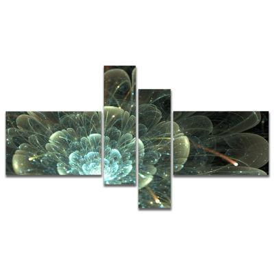 Designart Fractal Flower Blue And Gray Canvas ArtPrint - 4 Panels