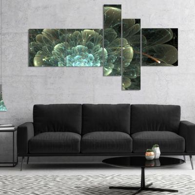 Designart Fractal Flower Blue And Gray Canvas Art Print - 5 Panels
