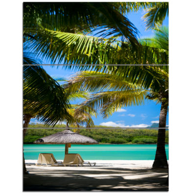 Design Art Tropical Paradise Beach Photography Canvas Art Print - 3 Panels