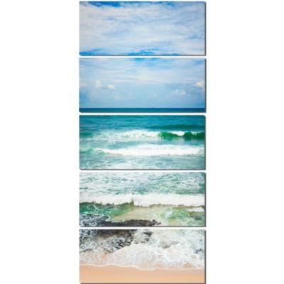 Designart Indian Ocean Seascape Photography CanvasArt Print - 5 Panels