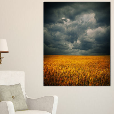 Designart Stormy Clouds Over Wheat Field LandscapeArtwork Canvas