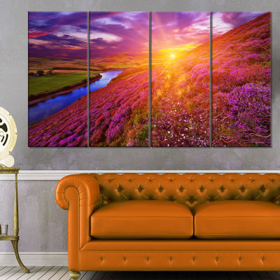 Designart Colorful Scottish Mountains Landscape Photography Canvas Art Print - 4 Panels
