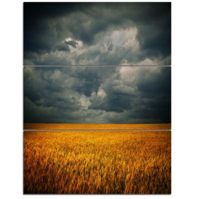 Designart Stormy Clouds Over Wheat Field Landscape Art work Canvas - 3 Panels