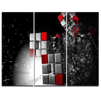 Designart Fractal 3D Red White Cubes Abstract Canvas Art Print - 3 Panels
