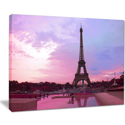 Design Art Paris Eiffel Tower in Purple Tone Landscape Photography Canvas Print