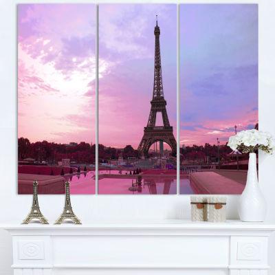 Designart Paris Eiffel Tower in Purple Tone Landscape Photography Canvas Print - 3 Panels