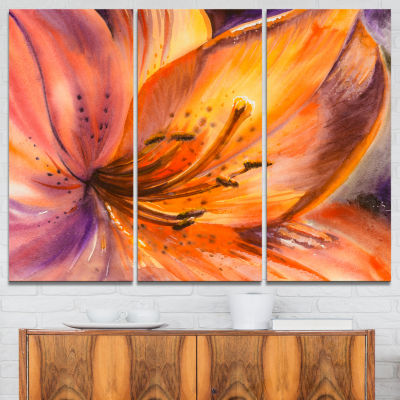 Designart Orange Lily Flower Canvas Art Print - 3Panels