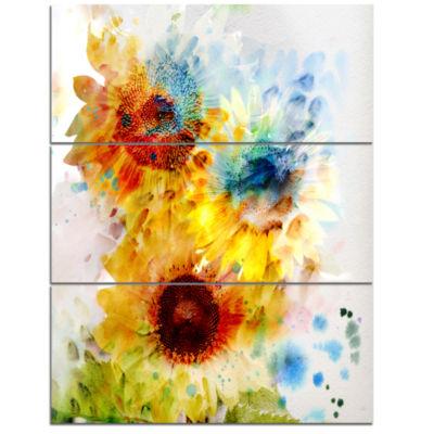 Designart Expressive Sunflowers Watercolor Canvas Art Print - 3 Panels