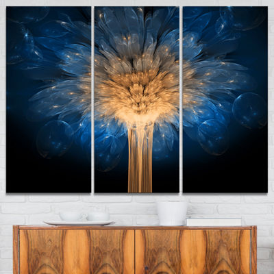 Designart Fractal 3D Blue Dragon Flower Abstract Canvas Art Print - 3 Panels