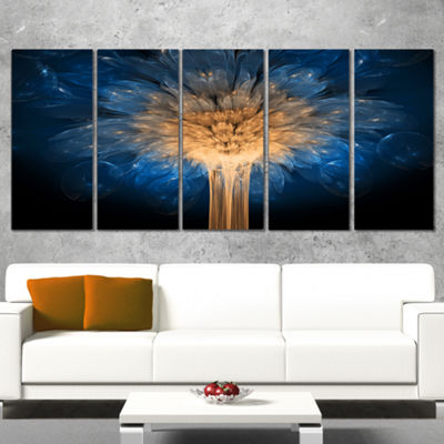 Designart Fractal 3D Blue Dragon Flower Abstract Canvas Art Print - 5 Panels