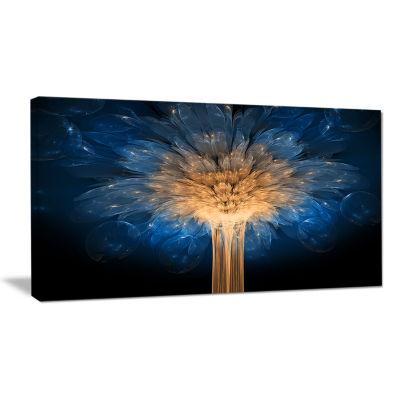 Designart Fractal 3D Blue Dragon Flower Blue Abstract Canvas Art Print
