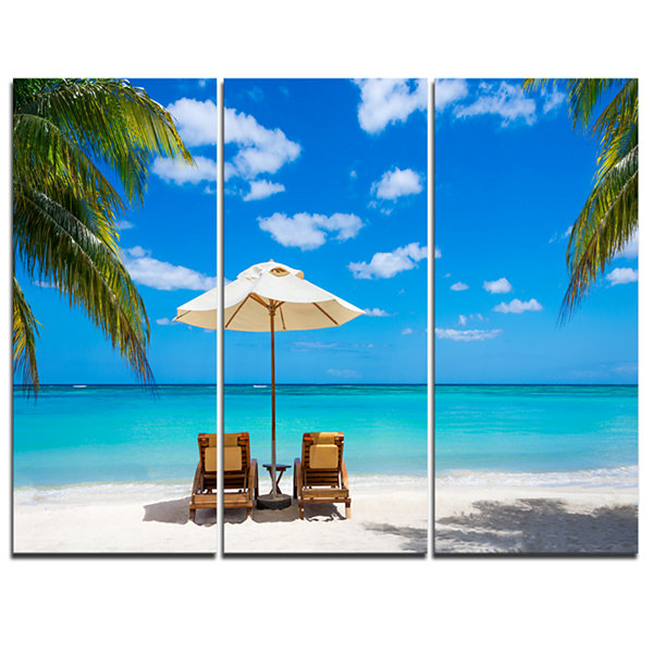 Designart Turquoise Beach With Chairs Seashore Photo Canvas Print - 3 Panels