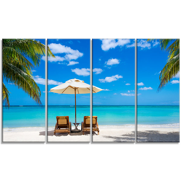 Designart Turquoise Beach With Chairs Seashore Photo Canvas Print - 4 Panels