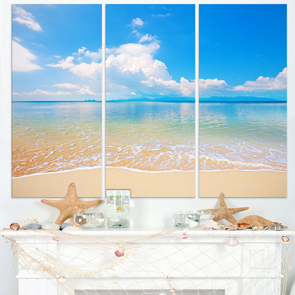 Design Art Clouds Over Calm Beach Seashore Photo Canvas Print - 3 Panels