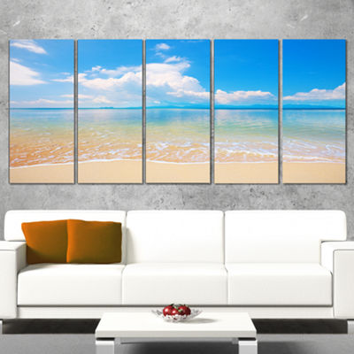 Designart Clouds Over Calm Beach Seashore Photo Canvas Print - 5 Panels