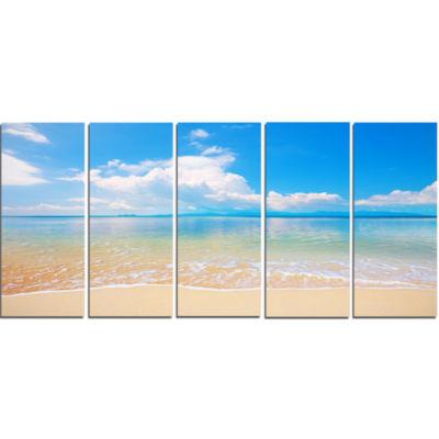 Design Art Clouds Over Calm Beach Seashore Photo Canvas Print - 5 Panels