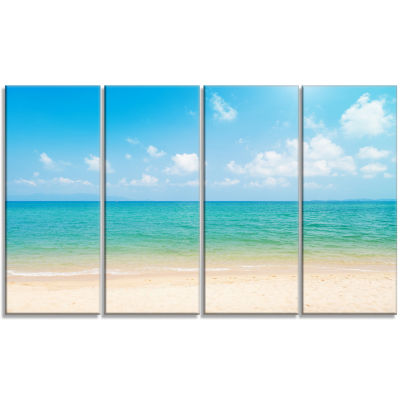 Design Art Wide View Of Tropical Beach Seashore Photo Canvas Print - 4 Panels