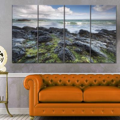 Designart Rocky North Ireland Seashore PhotographyCanvas Art Print - 4 Panels
