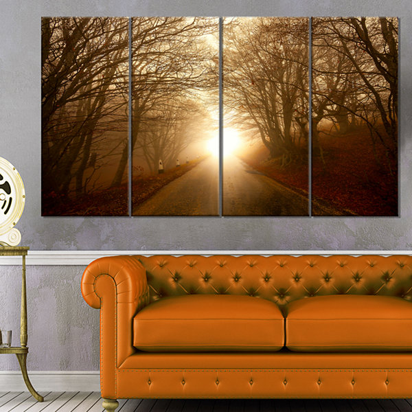 Designart Path To Sunlight In Autumn Forest Landscape Photography Canvas Print - 4 Panels