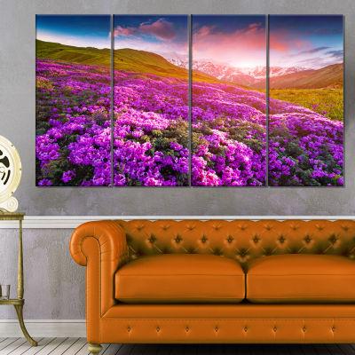 Designart Blooming Rhododendron Flowers Landscape Photo Canvas Art Print - 4 Panels