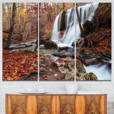 Design Art Crimea Waterfall In The Fall Landscape Photo Canvas Art Print - 3 Panels