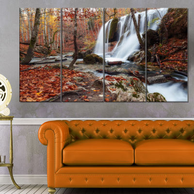 Design Art Crimea Waterfall In The Fall Landscape Photo Canvas Art Print - 4 Panels