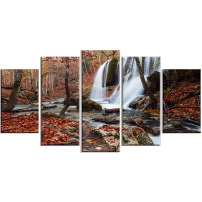 Designart Crimea Waterfall In The Fall Landscape Photo Canvas Art Print - 5 Panels