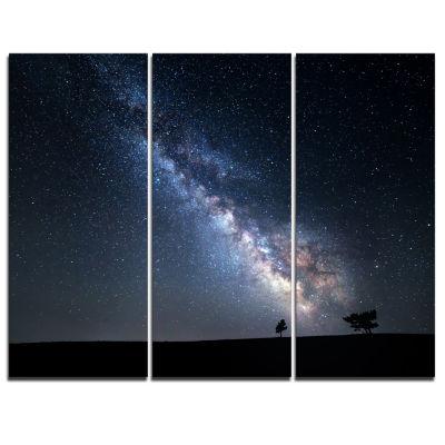 Designart Summer Night With Stars In Crimea Landscape Photography Canvas Print - 3 Panels
