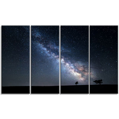 Design Art Summer Night With Stars In Crimea Landscape Photography Canvas Print - 4 Panels