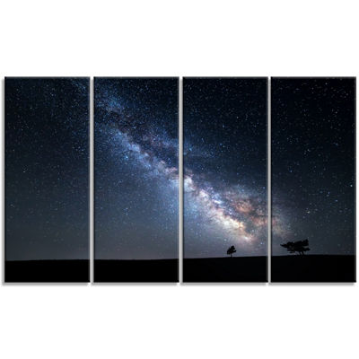 Designart Summer Night With Stars In Crimea Landscape Photography Canvas Print - 4 Panels