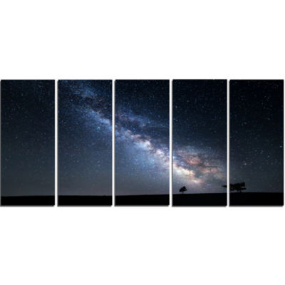 Designart Summer Night With Stars In Crimea Landscape Photography Canvas Print - 5 Panels