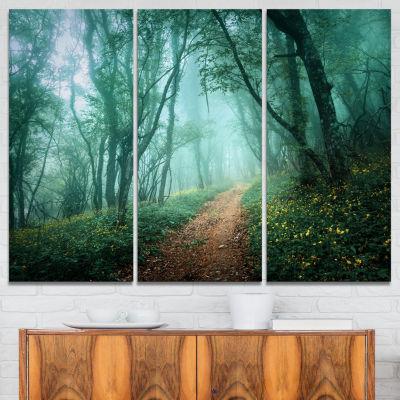 Designart Light Green Mystical Fall Forest Landscape Photography Canvas Print - 3 Panels
