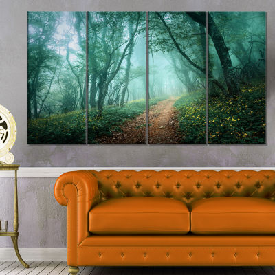 Designart Light Green Mystical Fall Forest Landscape Photography Canvas Print - 4 Panels