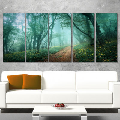 Design Art Light Green Mystical Fall Forest Landscape Photography Canvas Print - 5 Panels