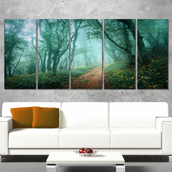 Designart Light Green Mystical Fall Forest Landscape Photography Canvas Print - 5 Panels