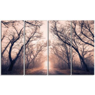 Designart Road Through Mystical Dark Forest Landscape Photography Canvas Print - 4 Panels