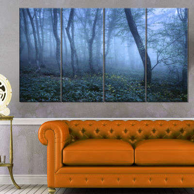 Designart Trail Through Blue Fall Forest LandscapePhoto Canvas Art Print - 4 Panels
