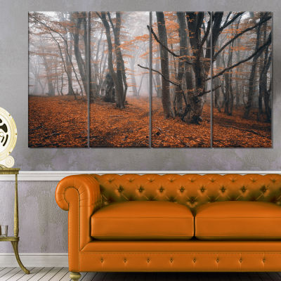 Designart Fall Trees With Fallen Leaves LandscapePhotography Canvas Print - 4 Panels