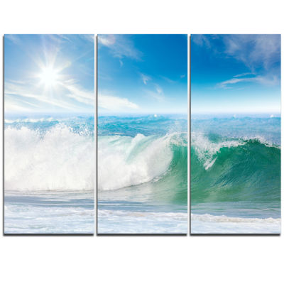 Designart White And Blue Waves Under Sun SeascapeCanvas Art Print - 3 Panels