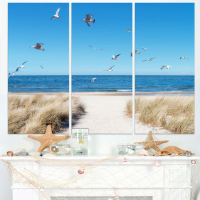 Design Art Beach With Seagulls In Rugen Island Seascape Canvas Art Print - 3 Panels