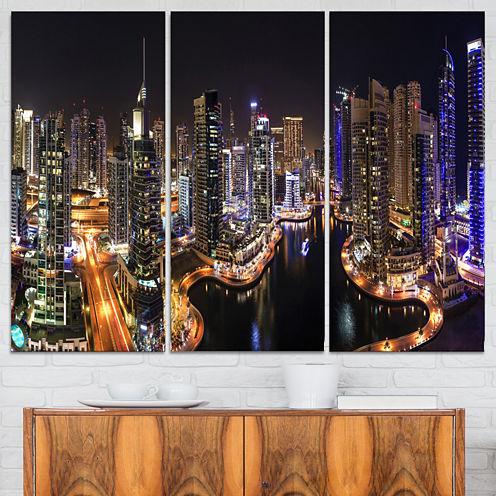 Designart Dubai Marina View At Night Cityscape Canvas Print - 3 Panels