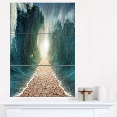 Designart Pathway Through The Parted Seas Canvas Print - 3 Panels